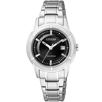 CITIZEN世紀都會時尚女錶-黑/銀 FE1030-50E