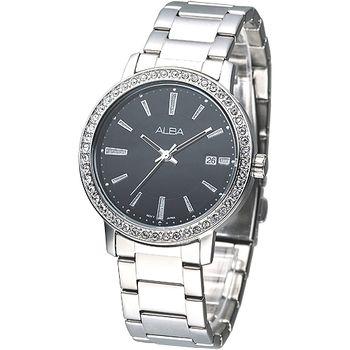 ALBA 完美晶鑽潮流風女腕錶-黑