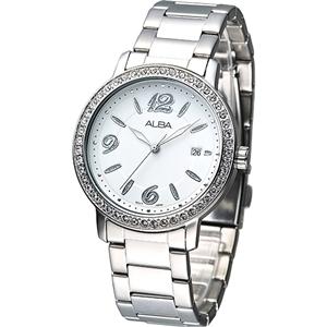 ALBA 絢麗晶鑽潮流風女腕錶-白/銀刻