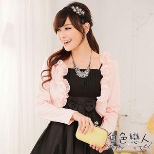 【白色戀人中大尺碼】粉色木耳邊長袖披肩小外套JK-0461