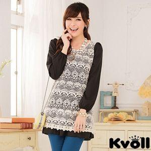 【KVOLL中大尺碼】黑色蕾絲雪紡綁帶連衣裙JK-0628