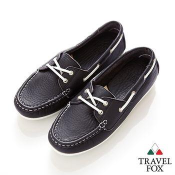 Travel Fox(女) 彈力大豆豆超軟牛皮帆船鞋/NAVY藍