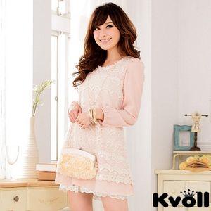 【KVOLL中大尺碼】粉色蕾絲雪紡綁帶連衣裙 JK-0628