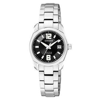 CITIZEN超級鈦金屬大三針女錶-黑 EW2101-59E