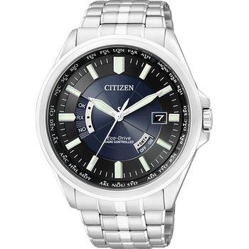 CITIZEN電波萬年曆鋼帶腕錶-黑/銀 CB0011-51L