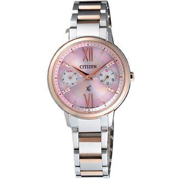 CITIZEN 海派甜心光動能時尚腕錶-半金 FD1014-52X
