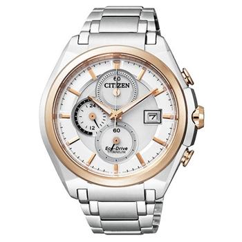 CITIZEN超級【鈦】計時腕錶-銀/雙色版 CA0356-55A