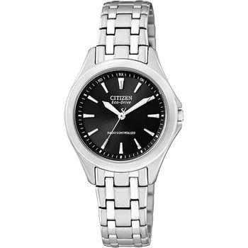 CITIZEN 光動能電波時尚腕錶-黑/銀 ES5040-51E