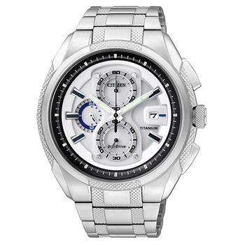 CITIZEN 超級鈦金屬計時腕錶-銀白 CA0201-51B