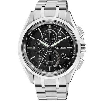 CITIZEN 五局電波【鈦】萬年曆腕錶-黑 AT8050-53E