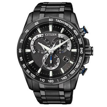 CITIZEN 【鈦】單局電波鬧鈴腕錶-IP黑AS8025-57E