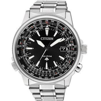 CITIZEN五局電波光動能【鈦】都會腕錶-黑CB0131-59E