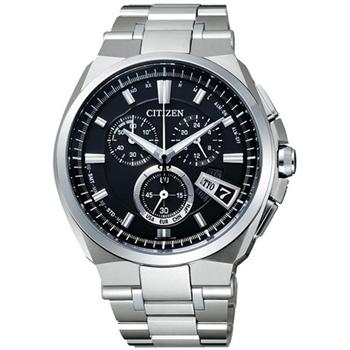 CITIZEN鈦金屬萬年曆5局電波腕錶-黑/銀BY0070-51E