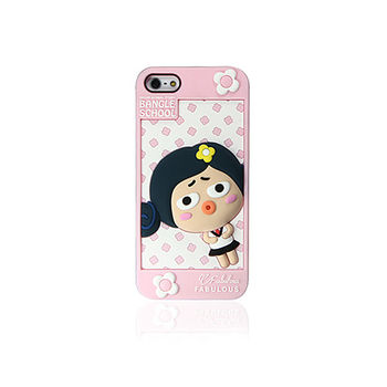 摩達客 韓國Fabulous-Judy粉紅白iPhone5矽膠護套