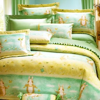 【KOSNEY】綠兔天堂 加大活性精梳棉六件式床罩組台灣製