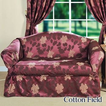 【棉花田】米蘭-提花雙人沙發便利套-紫色