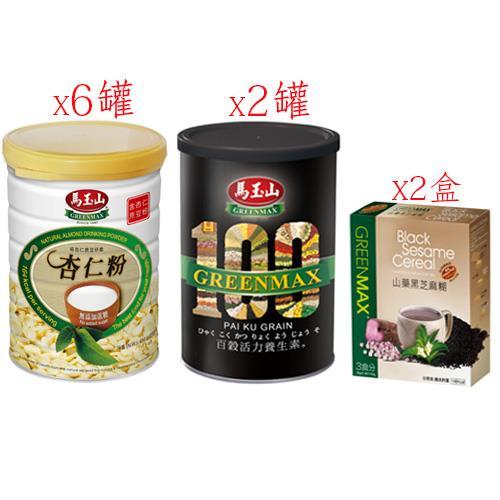 【馬玉山】無糖杏仁粉+百穀活力養生素+山藥黑芝麻糊-10件組