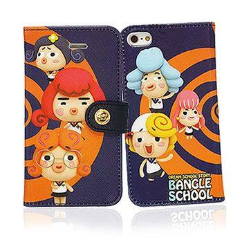 摩達客 韓國Fabulous-麻吉好友圈橘藍iPhone5手機皮套