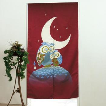 棉花田【貓頭鷹】日式印花長門簾-紅(85x150cm)