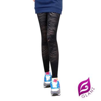 GLANZ 320丹韓版顯瘦塑身美腿內搭九分襪(貴氣條紋小野貓)