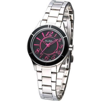 ALBA 時尚元素絢麗女腕錶-黑 /桃紅刻