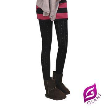 GLANZ台灣製320 韓版究極顯瘦塑身美腿內搭九分襪-點點圓舞曲