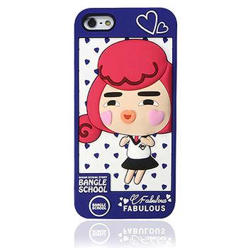 摩達客Fabulous-愛心Yola深藍 iPhone5矽膠護套