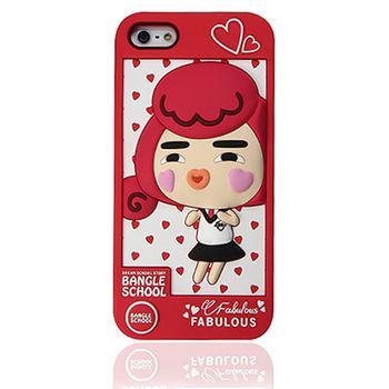 摩達客Fabulous-愛心Yola紅色 iPhone5矽膠護套