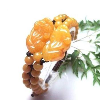 【杉梵】黃玉雙貔貅雙排珠手鍊
