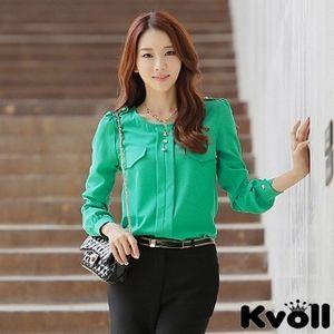 【KVOLL中大尺碼】綠色休閒圓領顯瘦百搭雪紡襯衫JK-0338
