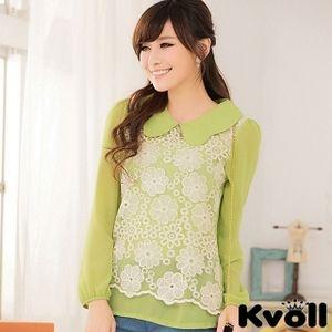 【KVOLL中大尺碼】綠色娃娃蕾絲繡花寬鬆長袖雪紡衫JK-0627