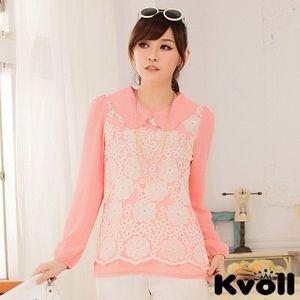 【KVOLL中大尺碼】粉色娃娃蕾絲繡花寬鬆長袖雪紡衫JK-0627