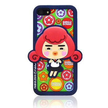 摩達客Fabulous-小花Yola深藍 iPhone5矽膠護套