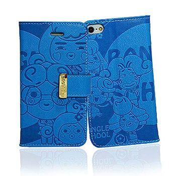 摩達客 韓國Fabulous-麻吉藍色壓紋iPhone5手機皮套