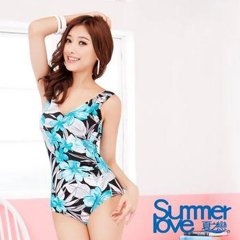 【夏之戀SUMMERLOVE】熱帶印花連身三角泳衣(E13703)
