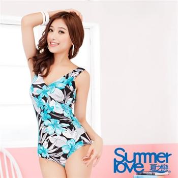 【夏之戀SUMMERLOVE】熱帶印花連身三角泳衣加大E13703