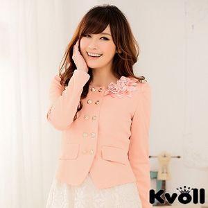 【KVOLL中大尺碼】粉色雙排扣修身花朵小西裝短外套JK-0465