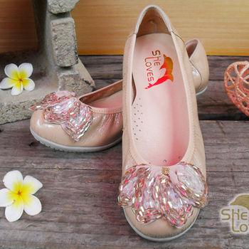 【SHELOVES 喜樂絲】2CG13A05- 奢華晶鑽平底娃娃鞋 粉色