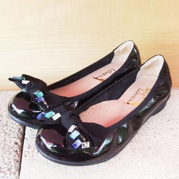 【SHELOVES 喜樂絲】 2CG13A08-彩鑽蝴蝶結舒適娃娃鞋 黑色