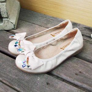 【SHELOVES 喜樂絲】 2CG13A08-彩鑽蝴蝶結舒適娃娃鞋 粉色