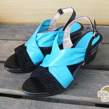 【SHELOVES 喜樂絲】低調鑽面羅馬涼鞋 藍色