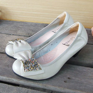 【SHELOVES 喜樂絲】亮麗蝴蝶結氣墊高跟鞋 米白