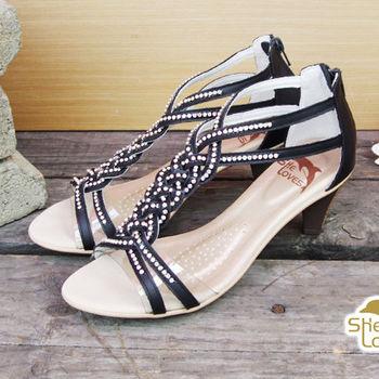 【SHELOVES 喜樂絲】完美線條羅馬高跟涼鞋 黑色