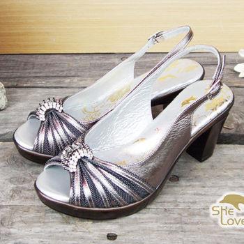 【SHELOVES 喜樂絲】質感水鑽性感高跟涼鞋 灰色