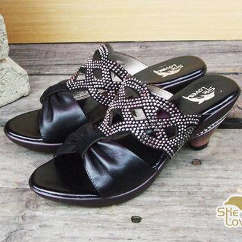 【SHELOVES 喜樂絲】透視美學 鑲鑽蝴蝶結鏤空低跟涼鞋 黑色