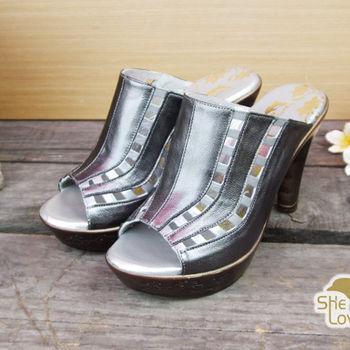【SHELOVES 喜樂絲】質感亮鏤空高跟涼鞋 鐵灰色
