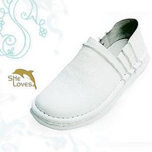 【SHELOVES 喜樂絲】女生款休閒健康護士氣墊鞋 白2B100