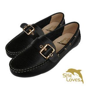 【SHELOVES喜樂絲】極簡品味帆船鞋 黑色 2CI12001
