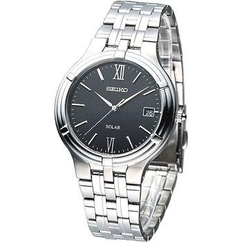 SEIKO 經典時尚環保光動能腕錶-黑