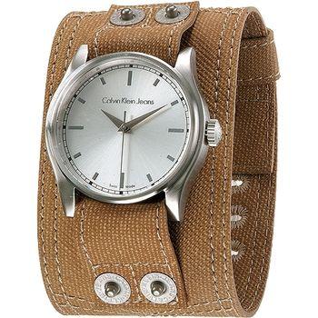 CK 酷炫寬版休閒風個性腕錶-卡其色